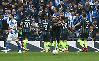 Manchester City's Gabriel Jesus is congratulated after scoring his side's first goal<br /> <br /> Photographer Rob Newell/CameraSport<br /> <br /> Emirates FA Cup Semi-Final - Manchester City v Brighton & Hove Allbion - Saturday 6th April 2019 - Wembley Stadium - London<br />  <br /> World Copyright © 2019 CameraSport. All rights reserved. 43 Linden Ave. Countesthorpe. Leicester. England. LE8 5PG - Tel: +44 (0) 116 277 4147 - admin@camerasport.com - www.camerasport.com