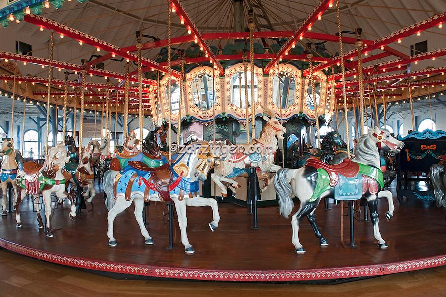 Santa Monica CA, Santa Monica Pier, Carousel, Merry Go-Round (Carousel) Horses, Pacific Park, Rides, Amusements