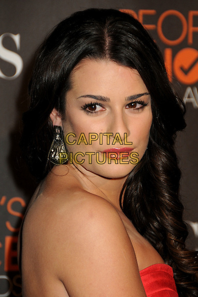 LEA MICHELE.Arrivals  at the 36th Annual People's Choice Awards - Arrivals held at the Nokia Theatre LA Live, Los Angeles, California, USA..January 6th, 2009.headshot portrait strapless pink red coral  earring.CAP/ADM/BP.©Byron Purvis/AdMedia/Capital Pictures.