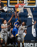 Reshanda Gray of California tries to block the ball during the game against Bakersfield at Haas Pavilion in Berkeley, California on December 15th, 2013.  California defeated Bakersfield Roadrunners, 70-51.
