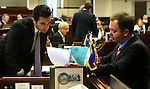Nevada Sen. Ruben Kihuen, D-Las Vegas, left, works with Senate Secretary David Byerman at the Legislative Building in Carson City, Nev., on Monday, Feb. 25, 2013..Photo by Cathleen Allison