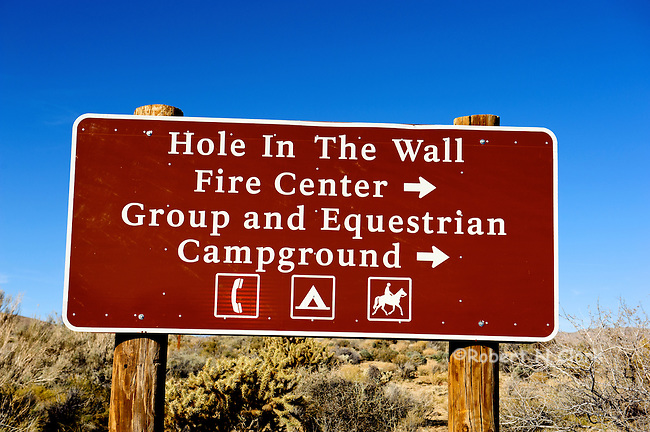 Sign for the Hole In The Wall Fire Center, Group and Equestrian Campground in the East Mojave National Preserve