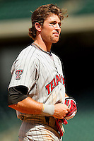 Reid Redman #6 of the Texas Tech Red Raiders during the game against the Arkansas Razorbacks at Minute Maid Park on March 2, 2012 in Houston, Texas.  The Razorbacks defeated the Red Raiders 3-1. (Brian Westerholt/Four Seam Images)