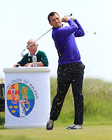 Eoghan Murphy (Cork) on the 1st tee during Round 1 of the Irish Amateur Close Championship at Seapoint Golf Club on Saturday 7th June 2014.<br /> Picture:  Thos Caffrey / www.golffile.ie