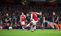 Alexandre Lacazette of Arsenal scores a goal from the penalty spot 2-1 during the UEFA Europa League QF 1st leg match between Arsenal and CSKA Moscow  at the Emirates Stadium, London, England on 5 April 2018. Photo by Andrew Aleksiejczuk / PRiME Media Images.