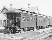 Side-end view of parlor car &quot;Chama&quot; with San Juan drum head.<br /> D&amp;RGW  Durango, CO