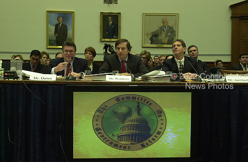 Jack Quinn, former White House counsel and attorney for Marc Rich, left, and former assistant United States Attorneys Morris Weinberg, Jr, center, and Martin Auerbach, right, testify before the U.S. House Committee on Government Reform and Oversight in Washington, D.C. on 8 February, 2001 on the Marc Rich pardon..Credit: Ron Sachs / CNP