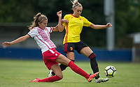 Rosy Wodhams of Stevenage Ladies tackles Anneka Nuttall of Watford Ladies during the pre season friendly match between Stevenage Ladies FC and Watford Ladies at The County Ground, Letchworth Garden City, England on 16 July 2017. Photo by Andy Rowland / PRiME Media Images.
