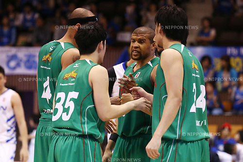 TOYOTA ALVARK TOKYO team group (Toyota),<br /> MAY 25, 2015 - Basketball : <br /> National Basketball League &quot;NBL&quot; Playoff FINALS 2014-2015 <br /> GAME 3 match between <br /> TOYOTA ALVARK TOKYO 69-81 AISIN SeaHorses Mikawa<br /> at 2nd Yoyogi Gymnasium, Tokyo, Japan. <br /> (Photo by Shingo Ito/AFLO SPORT)
