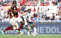 Calcio, Serie A: Roma vs Sassuolo. Roma, stadio Olimpico, 20 settembre 2015.<br /> Sassuolo&rsquo;s Matteo Politano, second from right, scores during the Italian Serie A football match between Roma and Sassuolo at Rome's Olympic stadium, 20 September 2015.<br /> UPDATE IMAGES PRESS/Isabella Bonotto