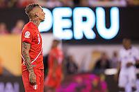 Action photo during the match Peru vs Colombia, Corresponding to the quarterfinals of the America Cup 2016 Centenary at Metlife Stadium.<br /> <br /> Foto de accion durante el partido Peru vs Colombia, Correspondiente a los Cuartos de Final de la Copa America Centenario 2016 en el Estadio Metlife, en la foto: Paolo Guerrero<br /> <br /> <br /> 17/06/2016/MEXSPORT/Osvaldo Aguilar.