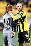 Wellington Phoenix's Andrew Durante, right, congratulates Newcastle United's Jack Colback, left, after Newcastle's win in the fourth match of the Football United Tour at Westpac Stadium, Wellington, New Zealand, Saturday, July 26, 2014. Credit: Dean Pemberton