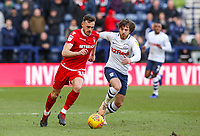 Nottingham Forest's Jack Robinson gets away from Preston North End's Ben Pearson<br /> <br /> Photographer Alex Dodd/CameraSport<br /> <br /> The EFL Sky Bet Championship - Preston North End v Nottingham Forest - Saturday 16th February 2019 - Deepdale Stadium - Preston<br /> <br /> World Copyright © 2019 CameraSport. All rights reserved. 43 Linden Ave. Countesthorpe. Leicester. England. LE8 5PG - Tel: +44 (0) 116 277 4147 - admin@camerasport.com - www.camerasport.com