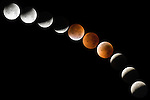 Windansea, La Jolla, California; Total Lunar Eclipse Composite August 28, 2007