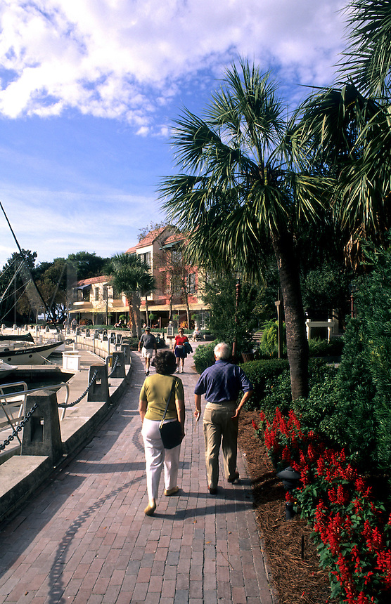 Harbourtown with tourists, Hilton Head, South Carolina, USA