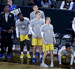 SIOUX FALLS, SD - MARCH 7: The South Dakota State Jackrabbits bench celebrates early in the first against the IPFW Mastodons half at the 2020 Summit League Basketball Championship in Sioux Falls, SD. (Photo by Miranda Sampson/Inertia)