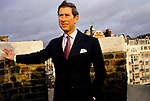 Prince Charles 1980s, over looking St James Street, from palace battlements, St James Palace, London. 1980s.