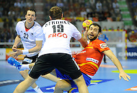 23.01.2013 World Championshio Handball. Match between Spain vs Germay at the stadium Principe Felipe. The picture show  Daniel Sarmiento Melian (Centre Back of Spain).