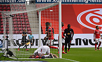 24th May 2020, Opel Arena, Mainz, Rhineland-Palatinate, Germany; Bundesliga football; Mainz 05 versus RB Leipzig; Goalkeeper Florian Mueller (FSV Mainz 05) is beaten by the goal for 0:2 from Yussuf Poulsen (RB Leipzig) in the 23rd minute