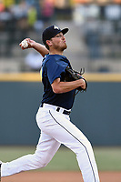 Pitcher Taylor Henry (17) of the Columbia Fireflies delivers a pitch in a game against the Augusta GreenJackets on Sunday, July 30, 2017, at Spirit Communications Park in Columbia, South Carolina. Augusta won, 6-0. (Tom Priddy/Four Seam Images)