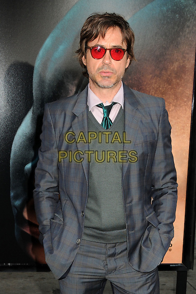 "ROBERT DOWNEY JR..""Splice"" Los Angeles Premiere held at Grauman's Chinese Theatre, Hollywood, California, USA..June 2nd, 2010.half length suit jacket purple green tie shirt grey gray check stubble facial hair red tinted sunglasses shades hands in pockets.CAP/ADM/BP.©Byron Purvis/AdMedia/Capital Pictures."
