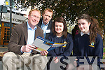 Brendan Casey, CEO of Swiftqueue, and Shane McAllister, founder of MobaNode, at the Young Entrepreneur Blue Sky Day with Tara Viseardi and Aoife Casey from Pobalscoil Inbhear Sce?ine, Kenmare.
