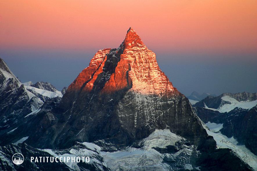 Sunrise on the Matterhorn. Zermatt, Swiss Alps. Wallis, Switzerland