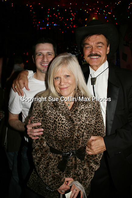 One Life To Live's Ilene Kristen poses with Devon Jacobs (We Love Soaps) and Randy Jones (original cowboy of Village People) on April 28, 2010 at Will Clark's P*rno Bingo at Pieces, New York City, New York to benefit the American Foundation for Suicide Prevention - an event presented by We Love Soaps (Damon Jacobs and Roger Newcomb). (Photos by Sue Coflin/Max Photos)