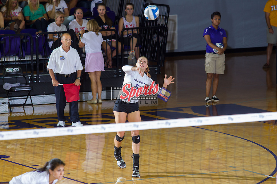 Kristin Heldt (5) of the High Point Panthers serves against the VCU Rams at Millis Athletic Center on September 17, 2013 in High Point, North Carolina.  The Rams defeated the Panthers 3-0.   (Brian Westerholt/Sports On Film)