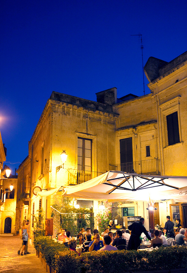 Dining outside in summer, Puglia, Italy