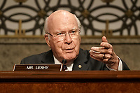 """United States Senator Patrick Leahy (Democrat of Vermont) questions former United States Deputy Attorney General Rod Rosenstein during a Senate Judiciary Committee hearing to discuss the FBI's """"Crossfire Hurricane"""" investigation on Wednesday, June 3, 2020.<br /> Credit: Greg Nash / Pool via CNP/AdMedia"""