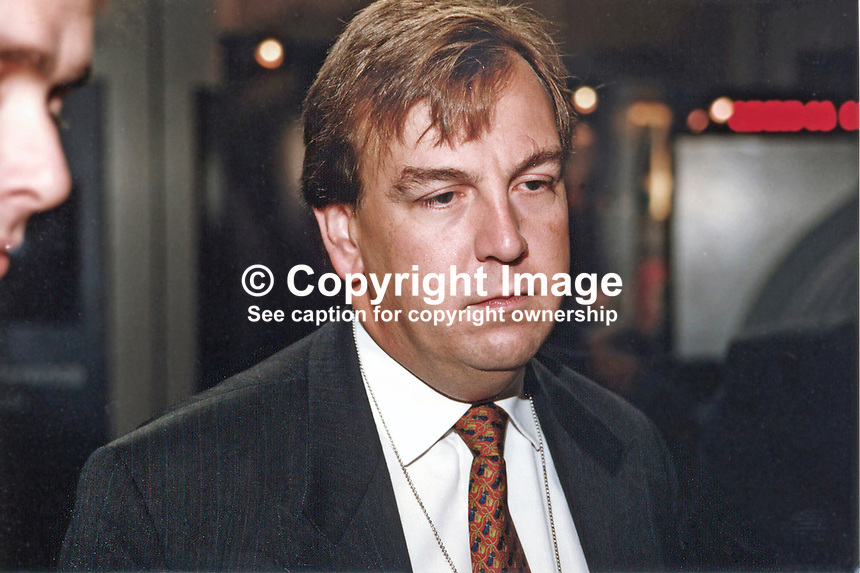 John Whittingdale, MP, Conservative Party, Britain, UK, 19971014JW2.<br /> <br /> Copyright Image from Victor Patterson,<br /> 54 Dorchester Park, <br /> Belfast, UK, BT9 6RJ<br /> <br /> t1: +44 28 9066 1296 (from Rep of Ireland 048 9066 1296)<br /> t2: +44 28 9002 2446 (from Rep of Ireland 048 9002 2446)<br /> <br /> m: +44 7802 353836<br /> <br /> e: victorpatterson@me.com<br /> www.victorpatterson.com<br /> <br /> Please see my Terms and Conditions of Use at www.victorpatterson.com. It is IMPORTANT that you familiarise yourself with them.<br /> <br /> Images used on the Internet must be visibly watermarked i.e. &copy; Victor Patterson<br /> within the body of the image and copyright metadata must not be deleted. Images <br /> used on the Internet have a size restriction of 4kbs and will be chargeable at current<br />  NUJ rates unless agreed otherwise.<br /> <br /> This image is only available for the use of the download recipient i.e. television station, newspaper, magazine, book publisher, etc, and must not be passed on to any third <br /> party. It is also downloaded on condition that each and every usage is notified within 7 days to victorpatterson@me.com<br /> <br /> The right of Victor Patterson to be identified as the author is asserted in accordance with The Copyright Designs And Patents Act (1988). All moral rights are asserted.