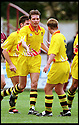 3rd October 98      .Copyright Pic : James Stewart   .STENHOUSEMUIR V ALBION ROVERS.SANDY ROSS IS CONGRATULATED BY J.MCLEES AFTER HE SCORED ROVERS CONSOLATION GOAL......Payments to :-.James Stewart Photo Agency, Stewart House, Stewart Road, Falkirk. FK2 7AS      Vat Reg No. 607 6932 25.Office : 01324 630007        Mobile : 0421 416997.If you require further information then contact Jim Stewart on any of the numbers above.........