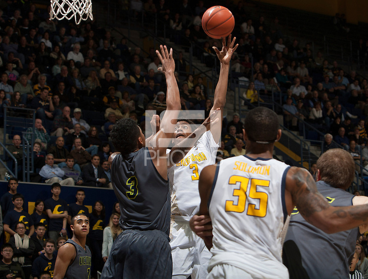 Tyrone Wallace of California shoots the ball during the game against UC Irvine at Haas Pavilion in Berkeley, California on December 2nd, 2013.  California defeated UC Irvine, 73-56.