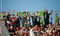 The Seattle Sounders Fan show their support during an MLS game between the Seattle Sounders FC and the Toronto FC at BMO Field in Toronto on June 18, 2011.