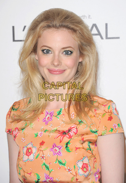 Gillian Jacobs.18th Annual ELLE Women in Hollywood celebration held at The Four Seasons in Beverly Hills, California, USA..October 17th, 2011.headshot portrait orange red floral print.CAP/RKE/DVS.©DVS/RockinExposures/Capital Pictures.