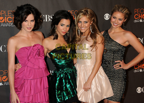 "CAST OF ""Make It or Break It"" - Chelsea Hobbs, Josie Loren, Cassie Scerbo & Ayla Kell.36th Annual People's Choice Awards - Arrivals held at the Nokia Theatre LA Live, Los Angeles, California, USA..January 6th, 2009.half length pink green white cream black strapless silk satin lace hand on hip one shoulder hand on hip.CAP/ADM/BP.©Byron Purvis/AdMedia/Capital Pictures."