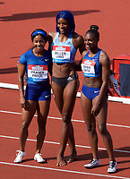Shaunae Miller-Uibo (Bahamas) with 3rd place Shelly-Ann Fraser-Pryce (Jamaica) and 2nd place Dina Asher-Smith (Great Britain) after winning the women's 200m during the IAAF Diamond League Athletics Müller Grand Prix Birmingham at Alexander Stadium, Walsall Road, Birmingham on 18 August 2019. Photo by Alan  Stanford.