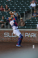 Mesa Solar Sox catcher Jhonny Pereda (6), of the Chicago Cubs organization, prepares to catch a pop up behind home plate during an Arizona Fall League game against the Salt River Rafters at Sloan Park on October 30, 2018 in Mesa, Arizona. Salt River defeated Mesa 14-4 . (Zachary Lucy/Four Seam Images)