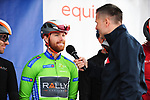 Collin Joyce (USA) Rally Cycling wearing the Green Jersey at sign on before the start of Stage 4 of the 2018 Artic Race of Norway, running 145.5km from Kvalsund to Alta, Norway. 18th August 2018. <br /> <br /> Picture: ASO/Gautier Demouveaux | Cyclefile<br /> All photos usage must carry mandatory copyright credit (© Cyclefile | ASO/Gautier Demouveaux)