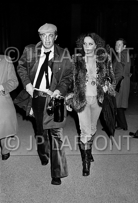 January 28th, 1974. Manhattan, New York City, NY. Just before the beginning of the second match between Ali and Frazier, Jean Paul Belmondo and Antonella Lualdi exhibit their finest clothes in a sort of a pre-match fashion show.