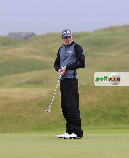 Stuart Grehan (Tullamore) on the 15th green during the Final Round of the South of Ireland Amateur Open Championship at LaHinch Golf Club on Sunday 26th July 2015.<br /> Picture:  Golffile | Thos Caffrey