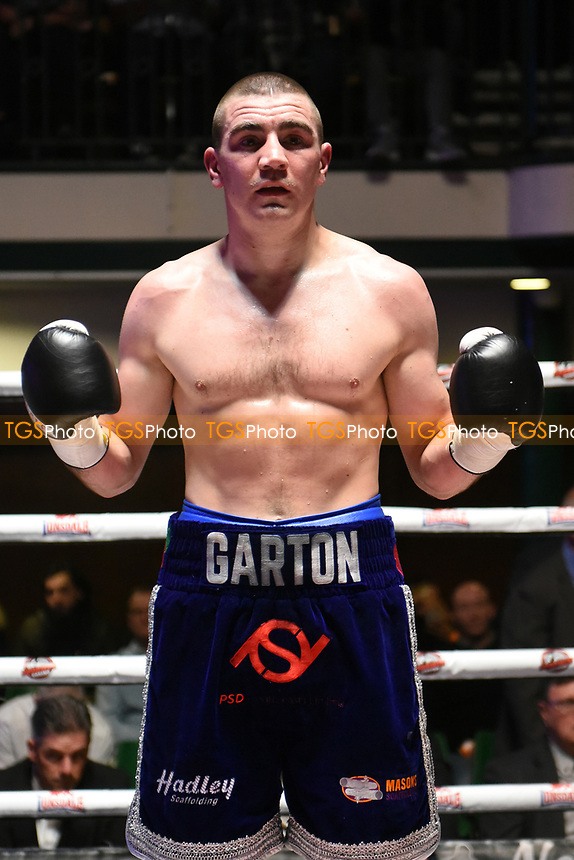 Johnny Garton (dark blue shorts) defeats Ivica Gogosevic during a Boxing Show at York Hall on 22nd April 2017