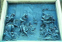 Florence: Rape of the Sabine, bronze relief. Giovanni Da Bologna (on base of Statue)  Photo '83.
