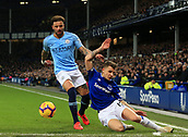 6th February 2019, Goodison Park, Liverpool, England; EPL Premier League Football, Everton versus Manchester City; Kyle Walker of Manchester City competes for the ball with Lucas Digne of Everton