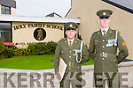 Defence Forces members Sergeant Chris Hoare, Killorglin originally and Gunner James Power, Waterford, delivered the tricolour and Proclamation to Holy Family School Tralee to commemorate the 100 year anniversary on Monday