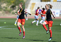 20180228 - LARNACA , CYPRUS :  Belgian Yana Daniels (left) and Janice Cayman (right) pictured during warming up a women's soccer game between The Belgian Red Flames and the Czech Republic , on wednesday 28 February 2018 at GSZ Stadium in Larnaca , Cyprus . This is the first game in group B for Belgium during the Cyprus Womens Cup , a prestigious women soccer tournament as a preparation on the World Cup 2019 qualification duels. PHOTO SPORTPIX.BE | DAVID CATRY