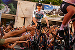 Chris Froome (GBR) Team Sky arrives on stage at the Team Presentation before the 101st edition of the Giro d'Italia 2018. Jerusalem, Israel. 3rd May 2018.<br /> Picture: LaPresse/Gian Mattia D'Alberto | Cyclefile<br /> <br /> <br /> All photos usage must carry mandatory copyright credit (&copy; Cyclefile | LaPresse/Gian Mattia D'Alberto)