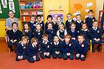 First Day for Ms Eveleen McCarthy's Junior Infants at Caherlaheen NS on Tuesday. Pictured Front l-r: David Cullinane, Dara Fleming, Adan Morrisson, Tiago Pirez-O'Carroll, Aodhan O Se, patrick Lovett<br /> Middle: Saoirse Egan Doyle, Cait Kirby, Caoimhe Loghrann, Jessica Hanlon, Sophie Constable, Amy Noonan, Alannah Crossan, Zara Krno<br /> Back: Eveleen Mc Carthy (Teacher), Roibeard Foley, Aaryan Girish Nair, Clance Zhaoyi Yu, Lillie Mai O Sullivan, Emma O Connor, Rian Moynihan, Aleksander Rzeczycki.Caoimhe Loughran, Cait Kirby, Aaryan Girish Nair, Tiago Pires O'Carroll