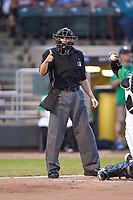 Home plate umpire Harrison Silverman makes a strike call during the Midwest League game between the Bowling Green Hot Rods and the Dayton Dragons at Fifth Third Field on June 8, 2018 in Dayton, Ohio. The Hot Rods defeated the Dragons 11-4.  (Brian Westerholt/Four Seam Images)
